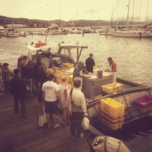 this is the Sunday market on the waterfront... and as you can see, this is the fish kiosk! :)